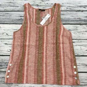 Anthropologie DREW Striped Linen Blouse Tank Top